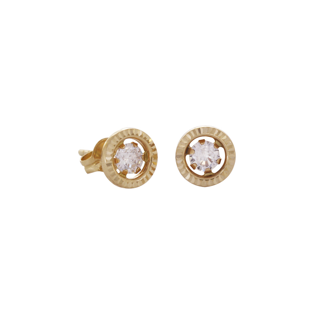 14K Italian Gold Engraved Circle with Cubic Zirconia Kids  Stud Earrings