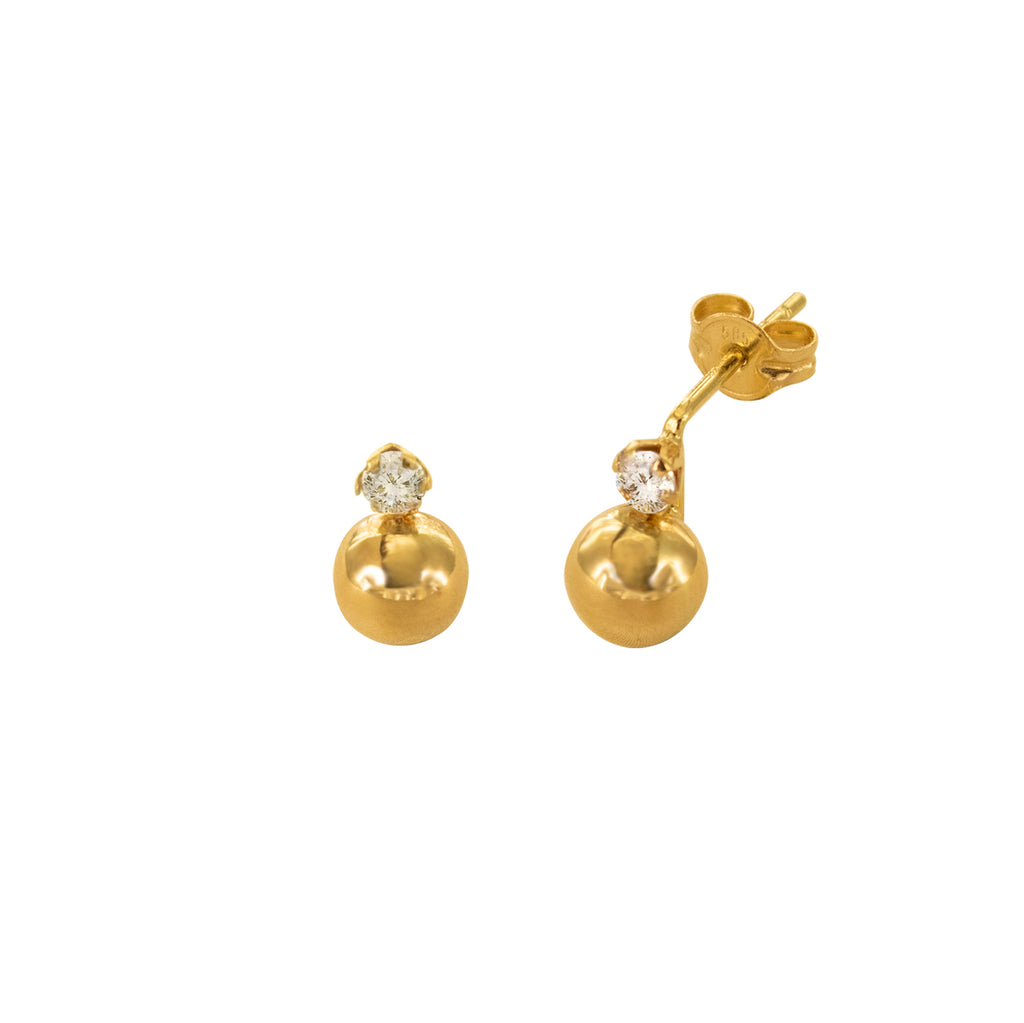 14K Italian Gold Kids Ball w/ Cubic Zirconia Stud Earrings