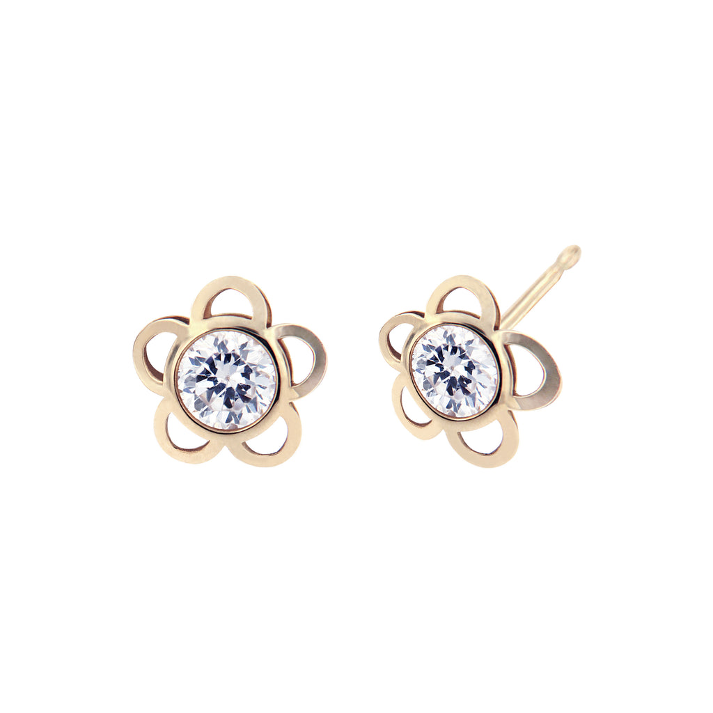 14K Italian Gold Laser-Cut Flower with Cubic Zirconia Stud Earrings