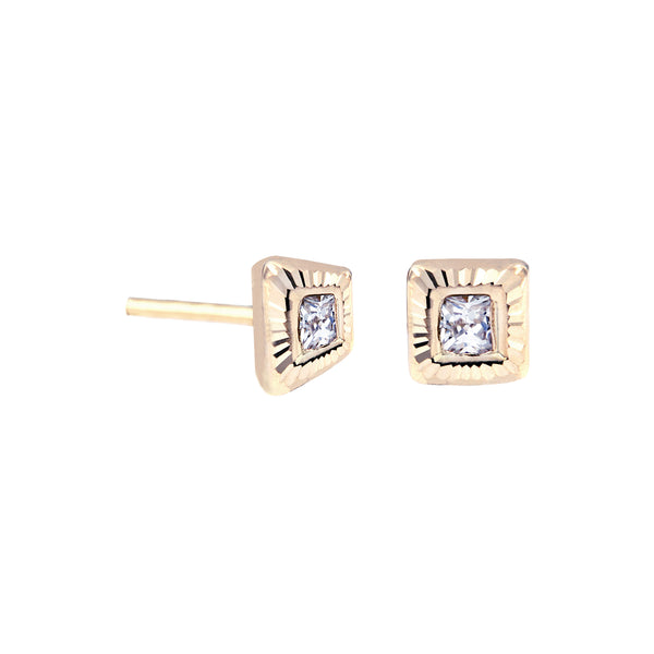 14K Italian Gold Square with Cubic Zirconia Kids Stud Earrings