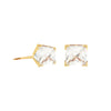14K Italian Gold Solo Cubic Zirconia Stud Earrings