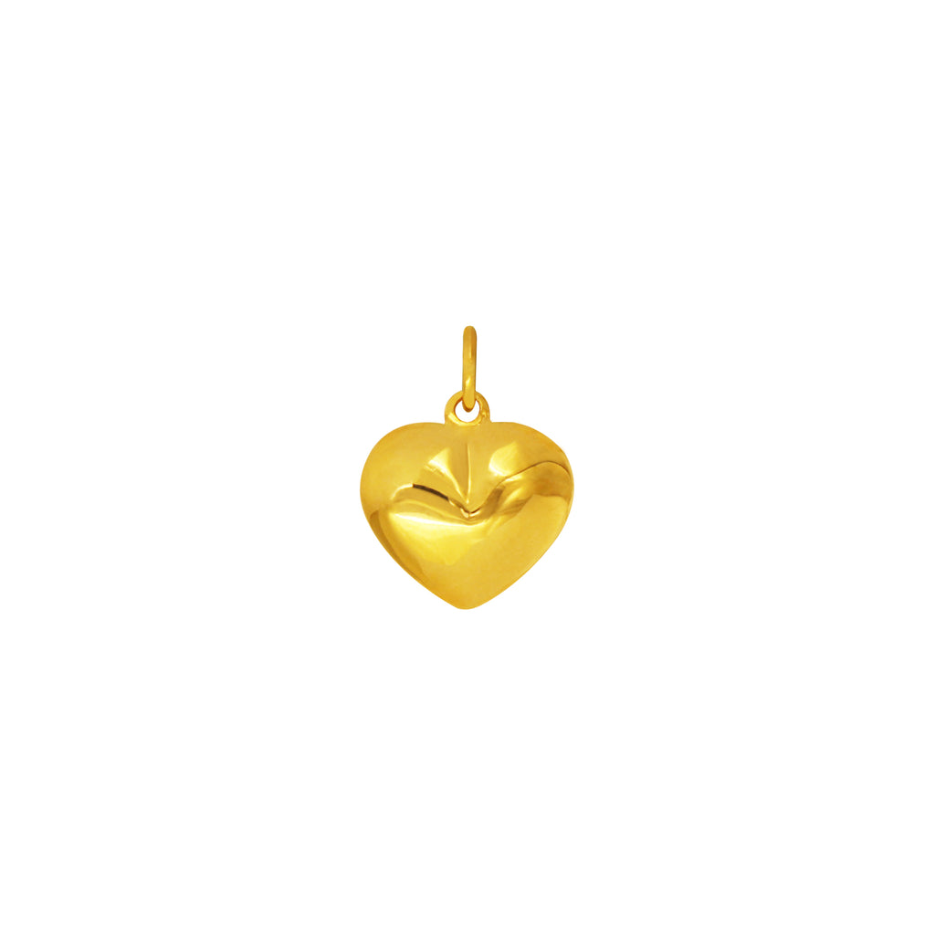 18K Chinese Gold Puffy Heart Pendant