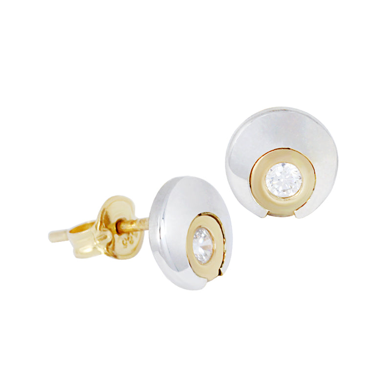 14K Italian Gold Circle with Zirconia Stone Stud Earrings