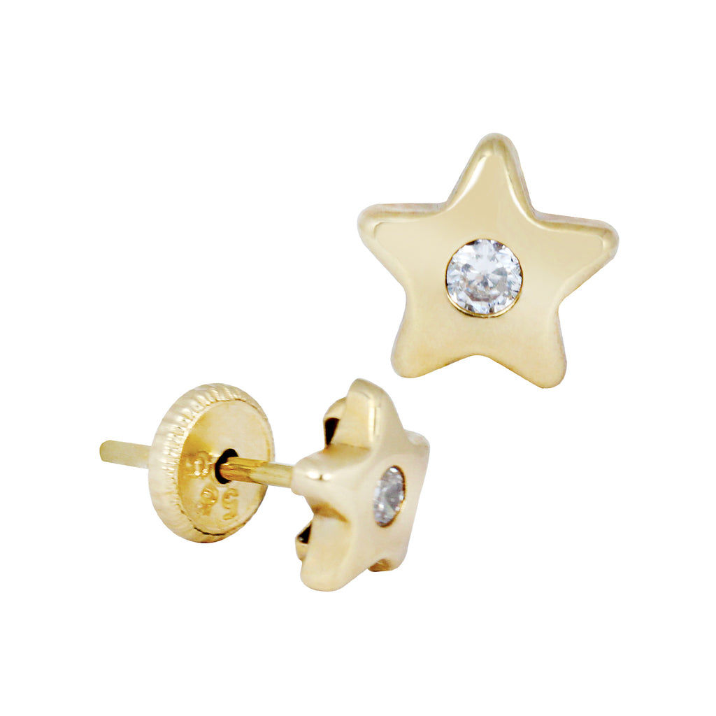 14K Italian Gold Star with Zirconian Stone Stud Earrings