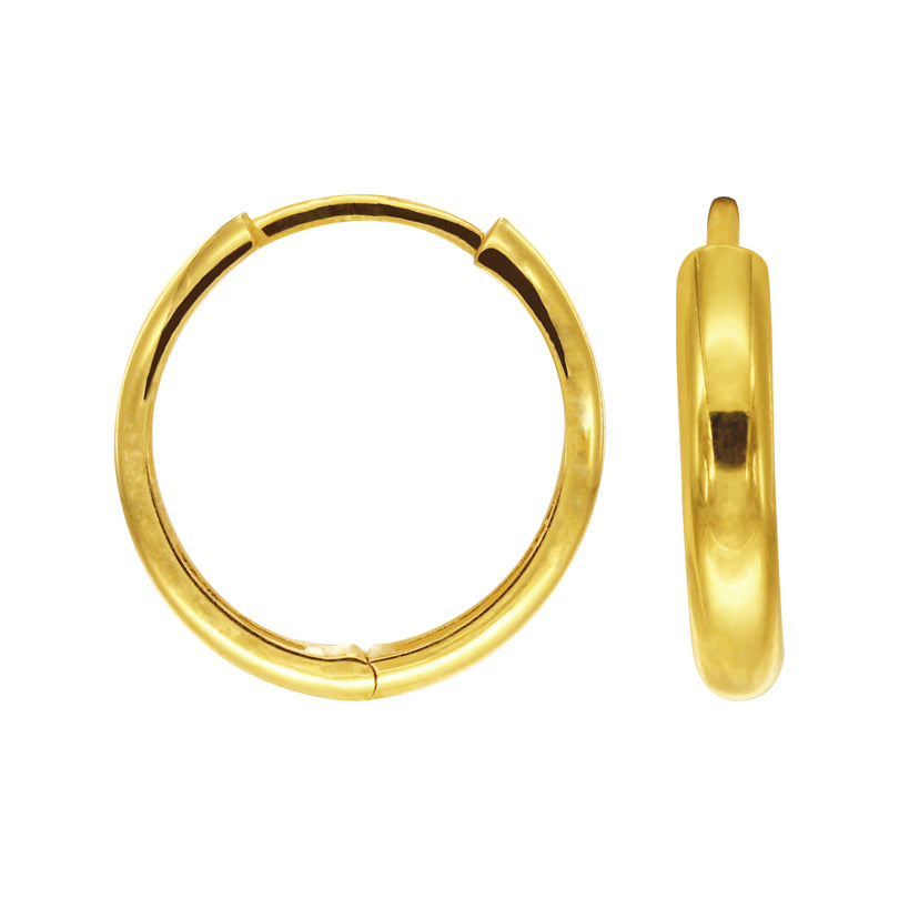 18K Chinese Gold Plain Hoop Earrings