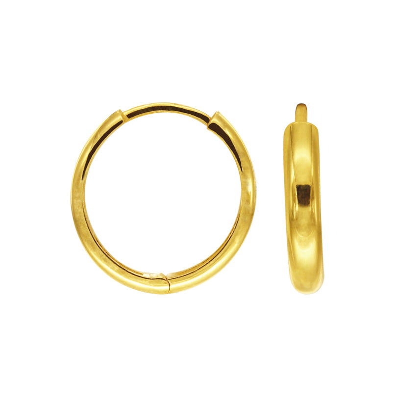 18K Chinese Gold Plain Hoops Earrings
