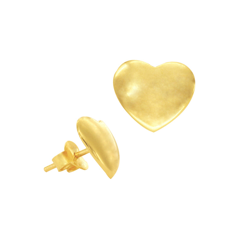 18K Chinese Gold Heart Stud Earrings