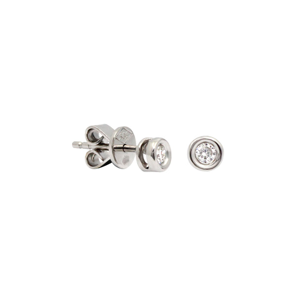 Donut Solitaire Diamond Stud Earrings in 14K White Gold