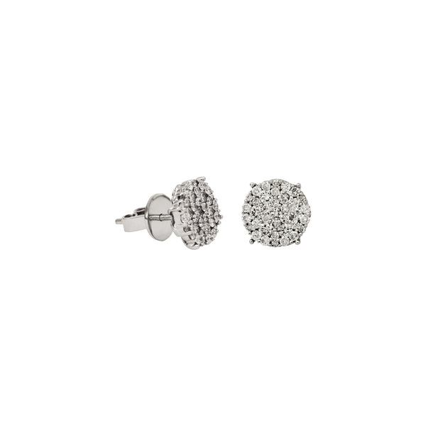 Round Illusion Diamond Studs Earrings in 14K White Gold