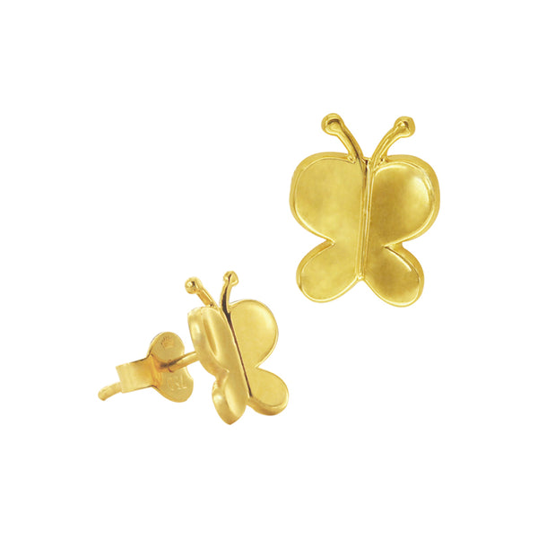18K Chinese Gold Butterfly Stud Earrings
