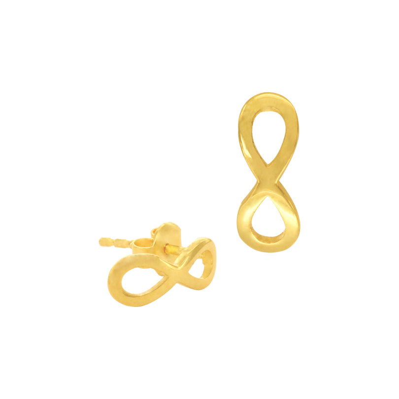 18K Chinese Gold Infinity Stud Earrings