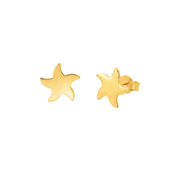 18K Chinese Gold Star Fish Stud Earrings