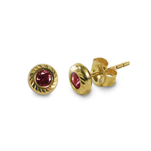 14K Italian Gold January Birthstone Stud Earrings