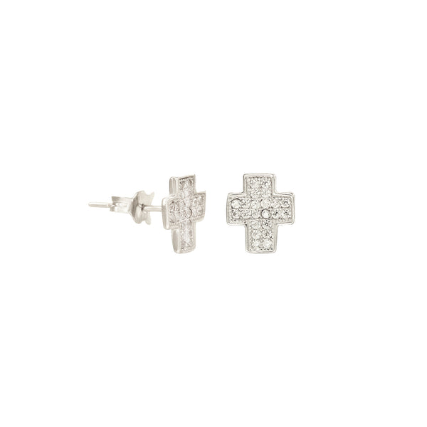 14K Italian Gold Cross Stud Earrings with Cubic Zirconia