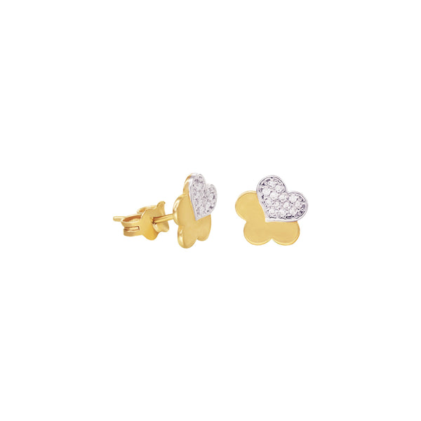 14K Italian Gold Flower Stud Earrings with Cubic Zirconia