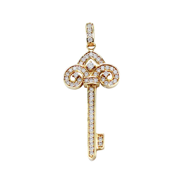 Diamond Key Pendant 0.33CT in 18k Yellow Gold