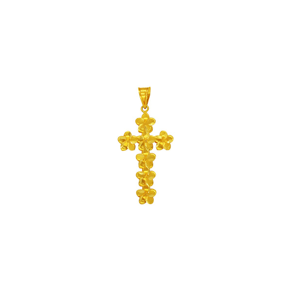 18K Chinese Gold Flower Cross Pendant