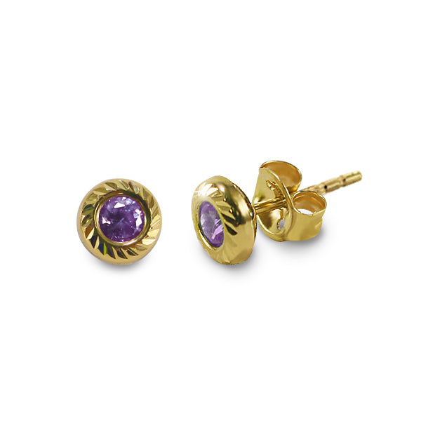 14K Italian Gold February Birthstone Stud Earrings