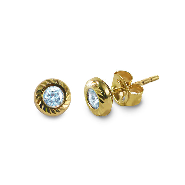 14K Italian Gold March Birthstone Stud Earrings