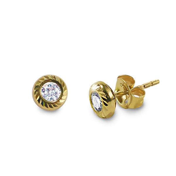 14K Italian Gold April Birthstone Stud Earrings