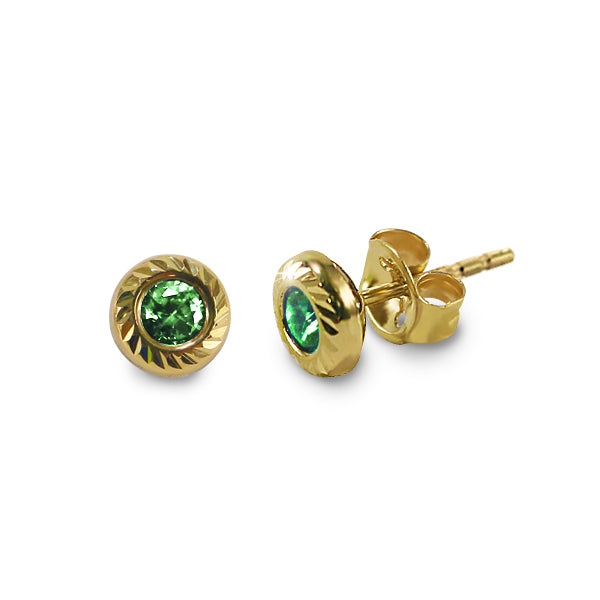 14K Italian Gold May Birthstone Stud Earrings
