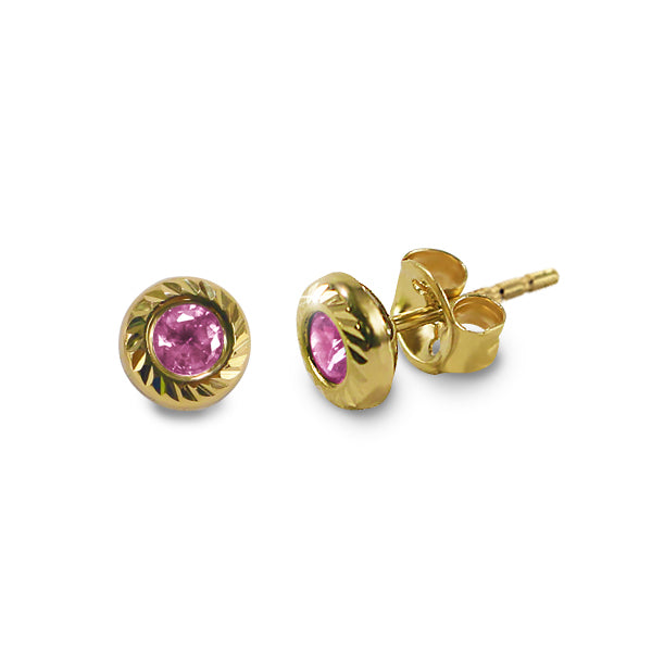 14K Italian Gold October Birthstone Stud Earrings