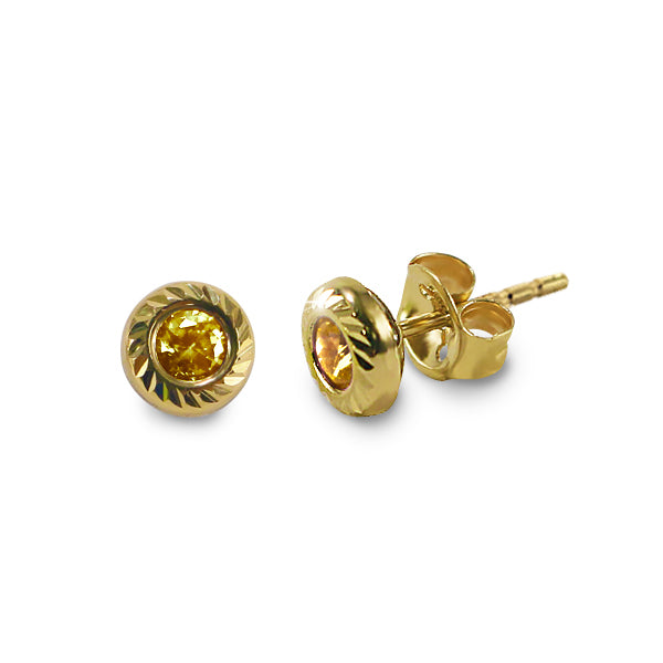 14K Italian Gold November Birthstone Stud Earrings
