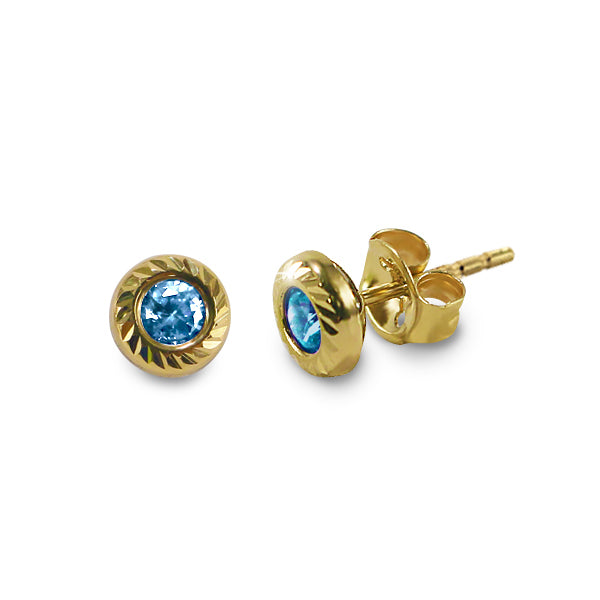 14K Italian Gold December Birthstone Stud Earrings