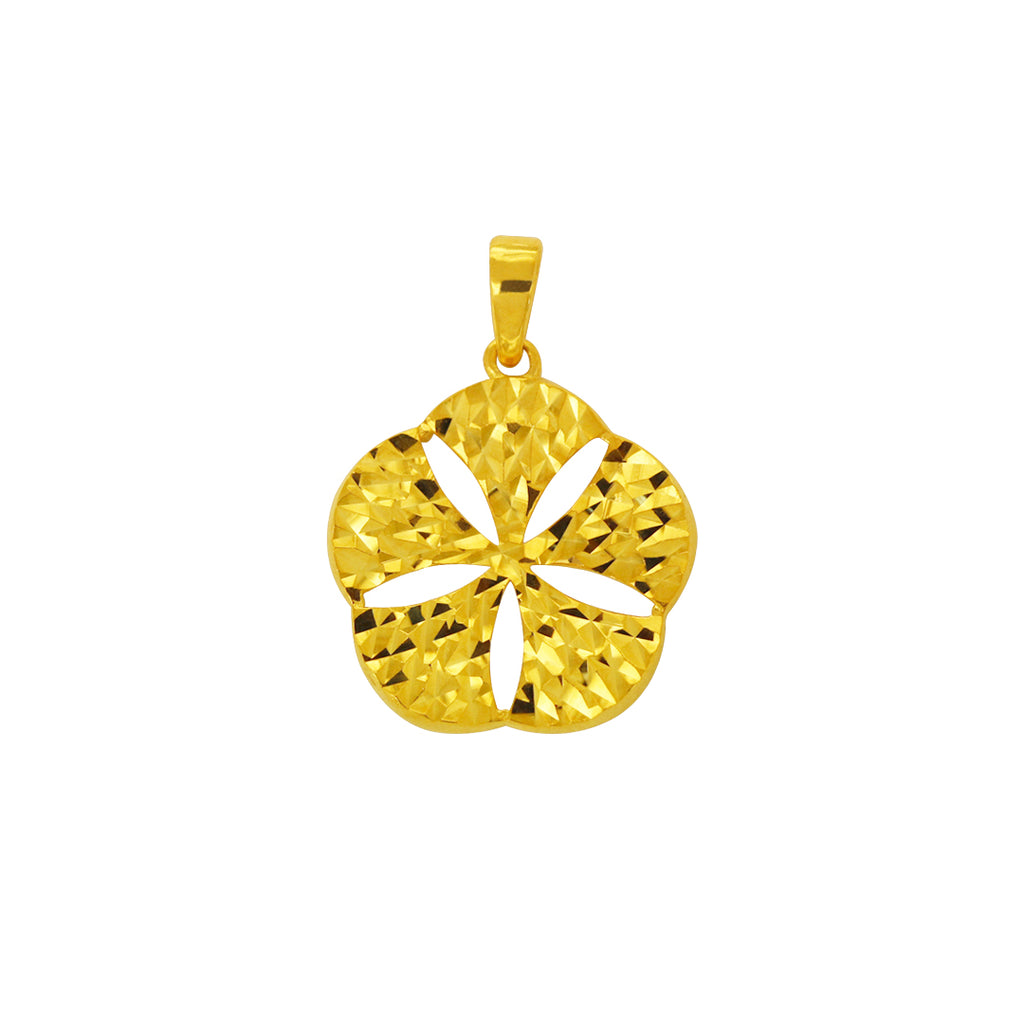 18K Chinese Gold Flower Pendant Dia Cut
