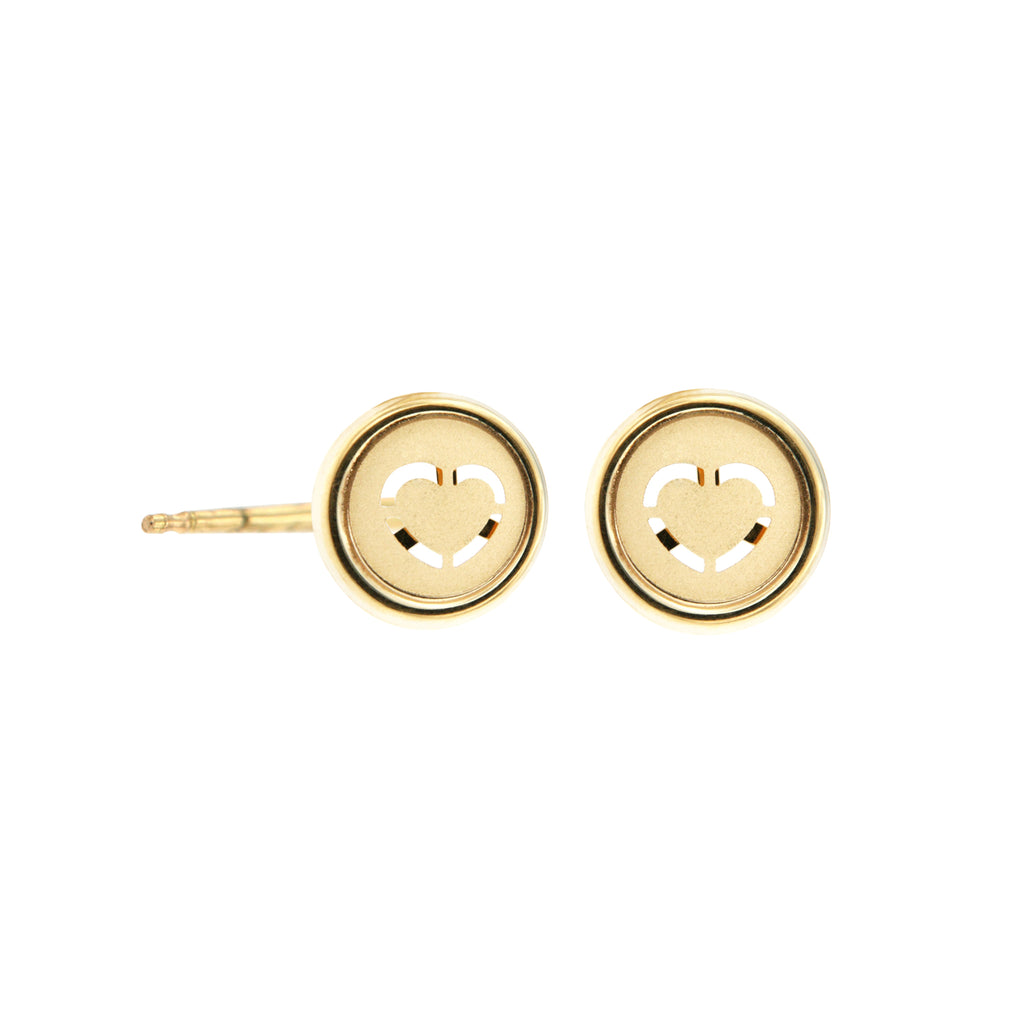 14K Italian Gold Round Heart Kids Stud Earrings