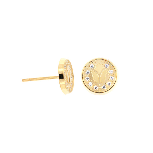 14K Italian Gold Tulips with Cubic Zirconia Kids Stud Earrings