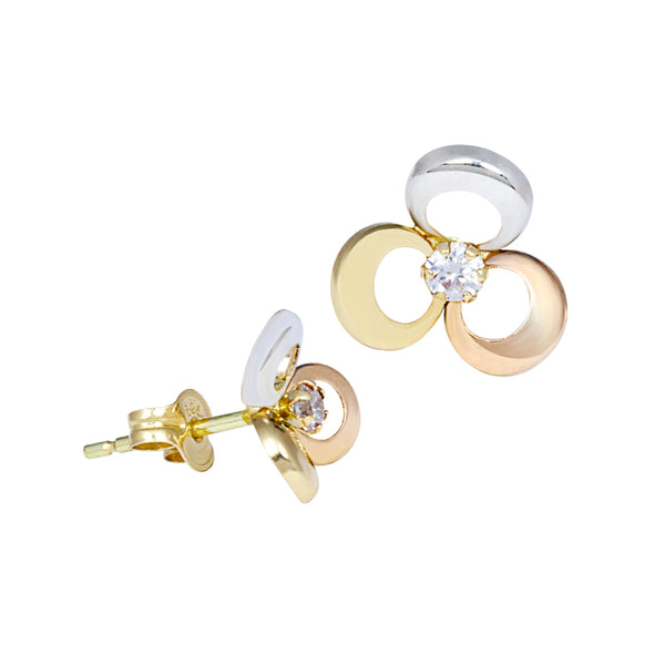 14K Italian Gold Flower with Zirconian Stone Kids Stud Earrings