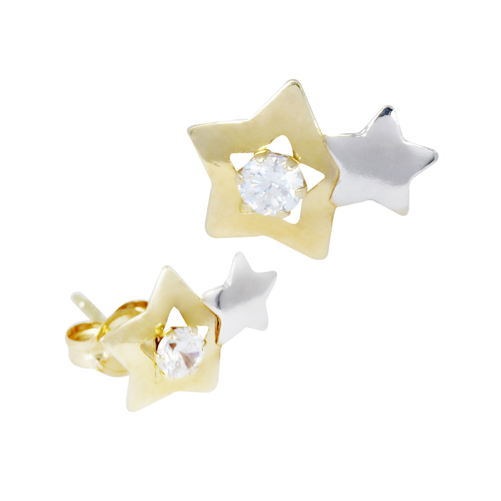 14K Italian Gold Star Stud Earrings