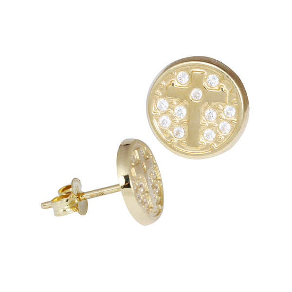 14K Italian Gold Round-Cross Stud Earrings