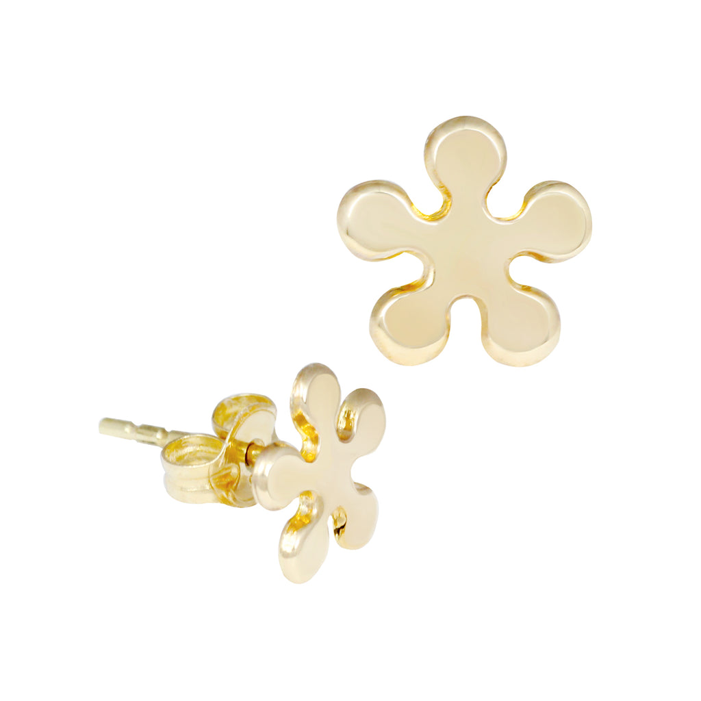 14K Italian Gold Flower Stud Earrings