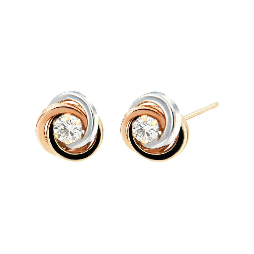 14K Italian Gold Knot with Cubic Zirconia Stud Earrings