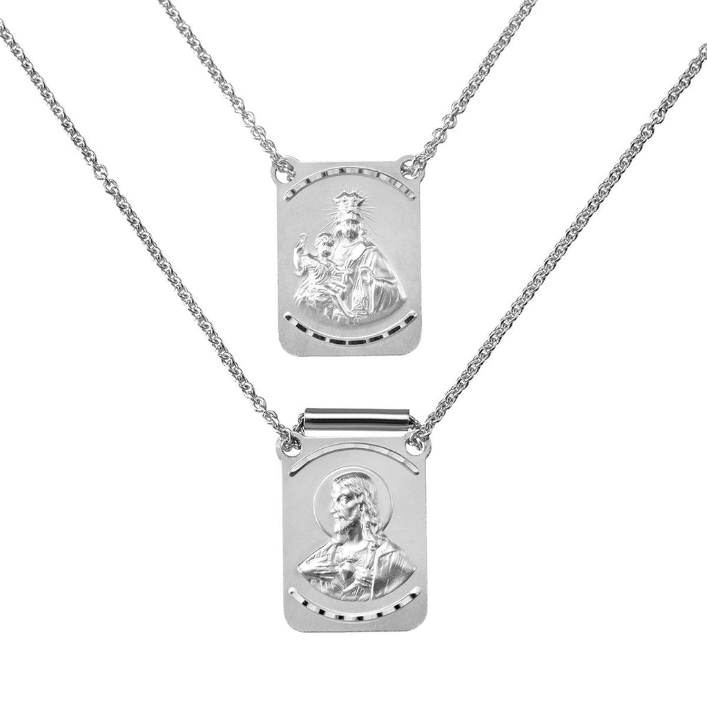 14K Italian White Gold Sto. Niño and Mt. Carmel Scapular Necklace