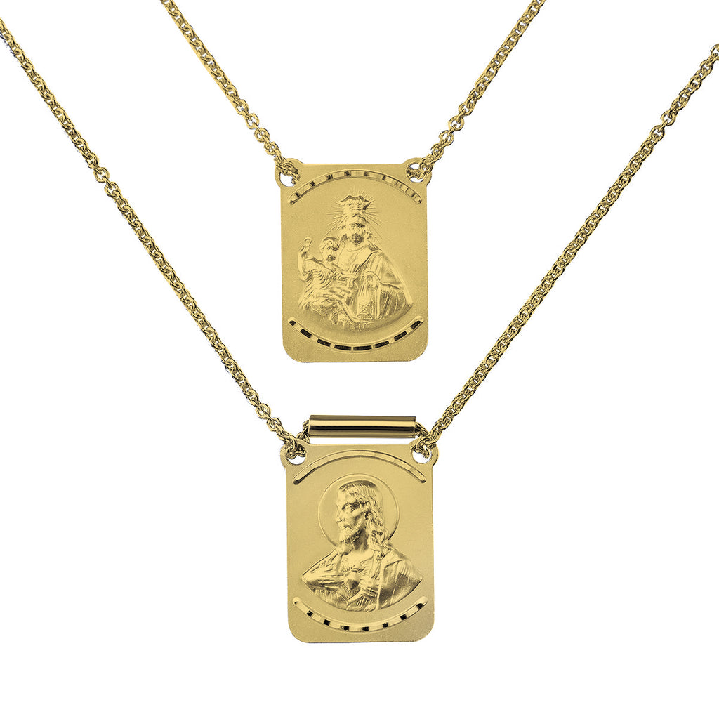 14K Italian Yellow Gold Sto. Niño and Mt. Carmel Scapular Necklace