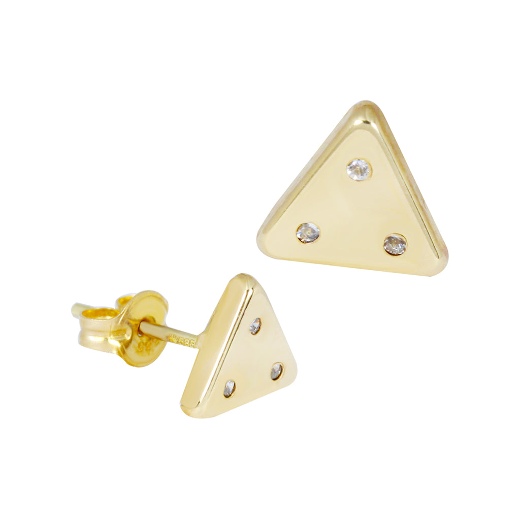 14K Italian Gold Triangle Kids Stud Earrings
