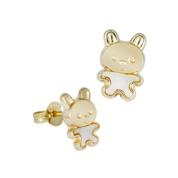 14K Italian Gold Bunny with Mother of Pearl Stud Earrings
