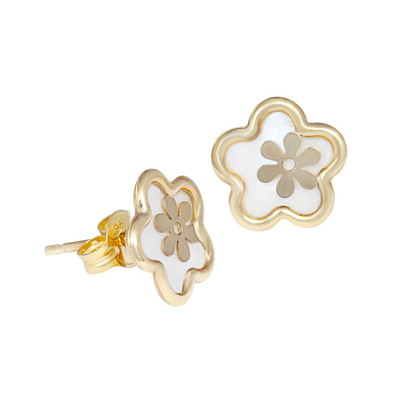 14K Italian Gold Flower with Mother of Pearl Kids Stud Earrings