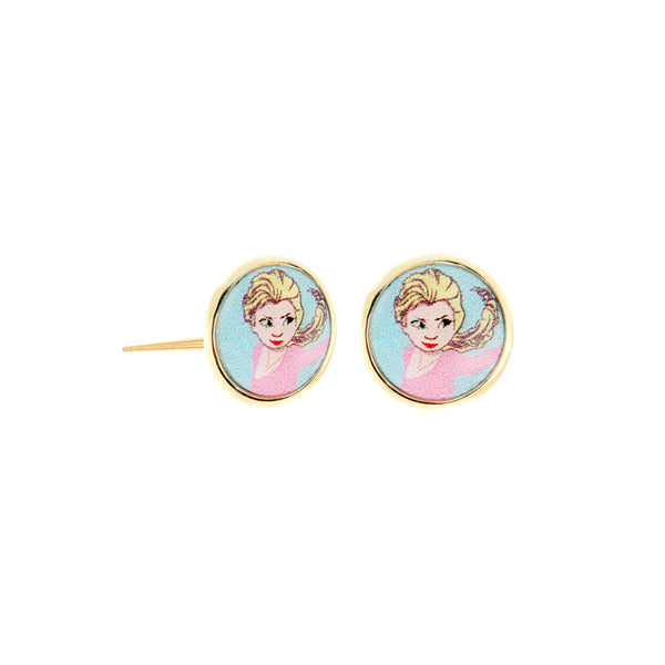 14K Italian Gold Elsa Kids Stud Earrings