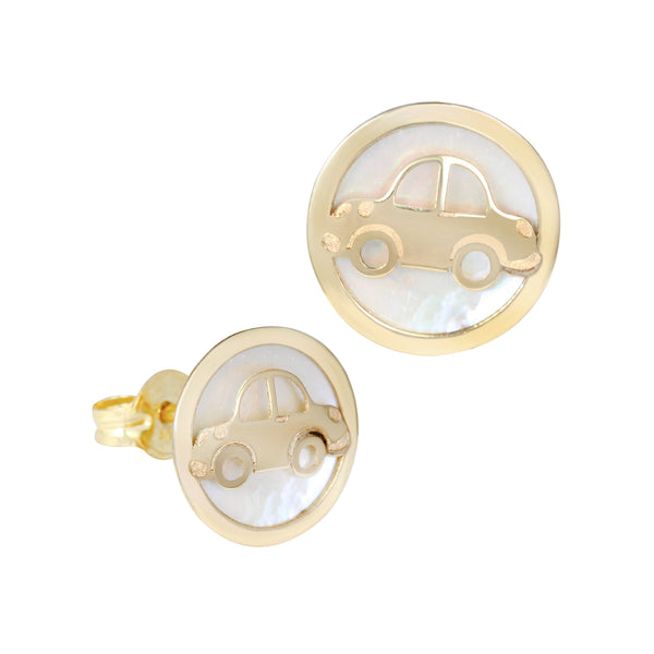14K Italian Gold Car with Mother of Pearl Kids Stud Earrings