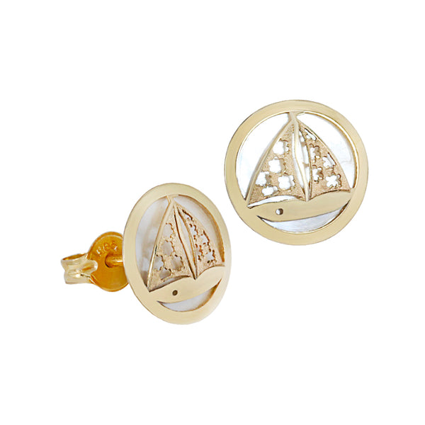 14K Italian Gold Boat with Mother of Pearl Kids Stud Earrings