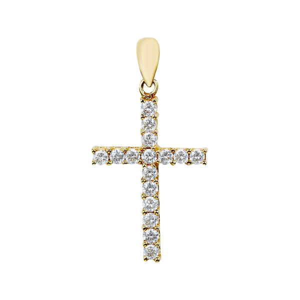 DIAMOND CROSS PENDANT .42CT in 18K YELLOW GOLD