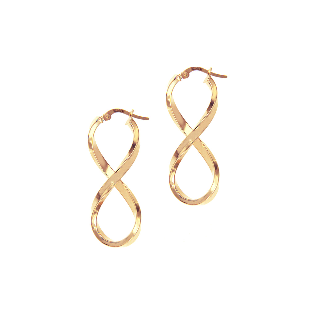 14K Italian Gold Infinity Hoop Earrings