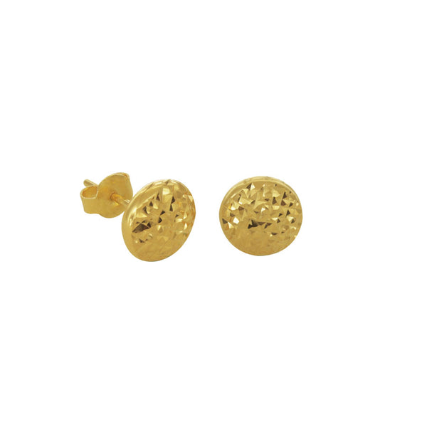 18K Chinese Gold Balls Dia Cut Stud Earrings