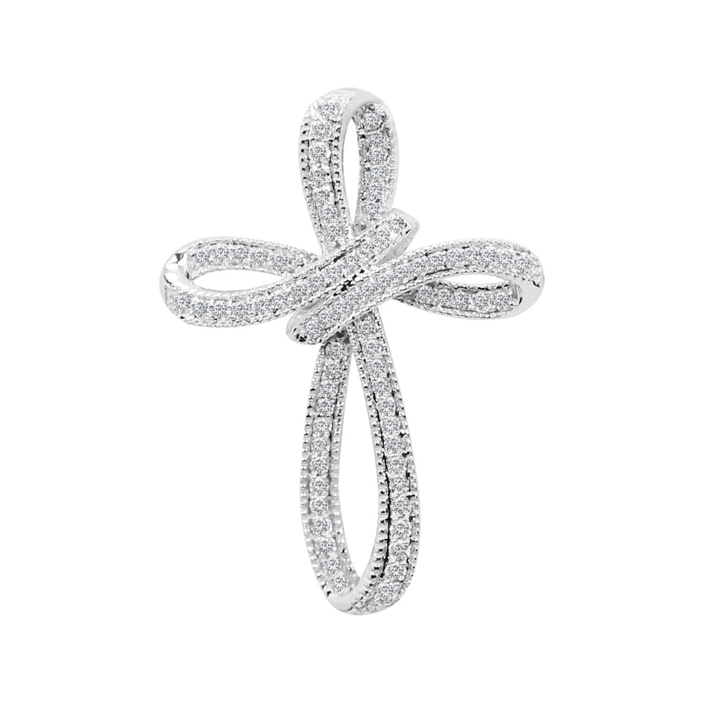 Diamond Cross Pendant .28ct in 18K White Gold