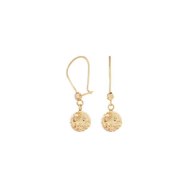 18K Saudi Gold Balls Dangling Earrings