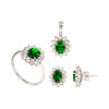 Oval Emerald Set of Stud Earrings, Pendant and Ring in 18K White Gold